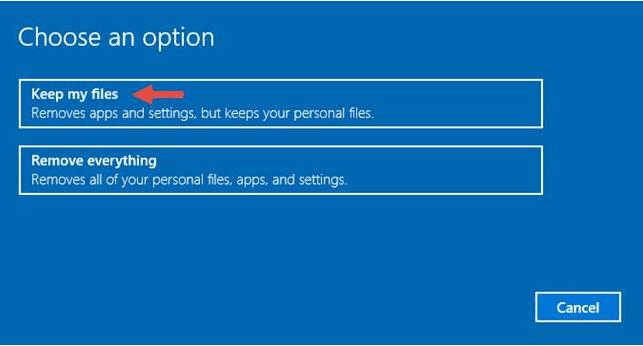 إعادة تعيين Windows 10