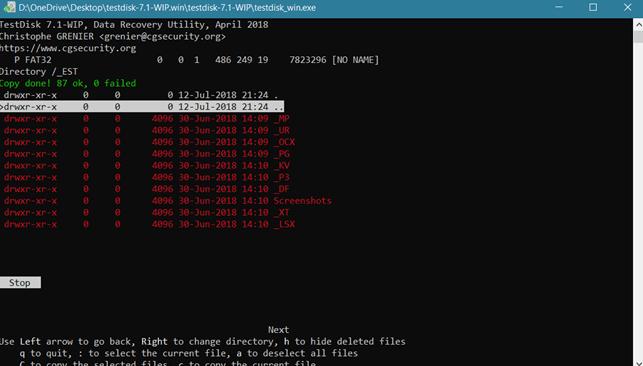 برنامج Testdisk لاستعادة البيانات