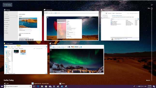 تحديث Windows 10 April 2018 ميزة Timeline