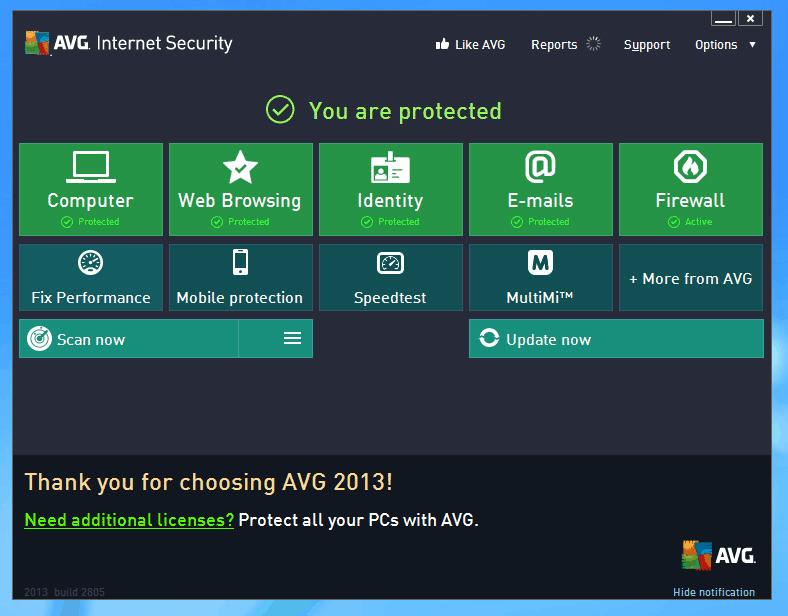 AVG Internet Security 2018 interface