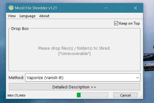 Moo0 File Shredder offers 4 erasing algorithms